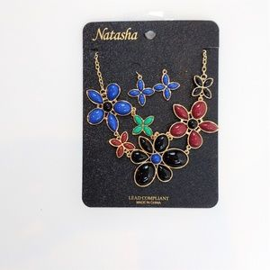 Natasha Flower Necklace and  Dangle Earrings New